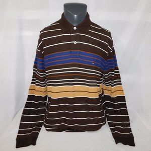 Tommy Hilfiger Mens L Brown  Blue Long Sleeve Polo